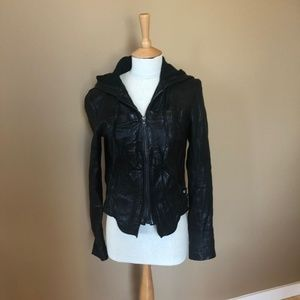 Jackets & Blazers - Black Leather Bomber Jacket Size 6